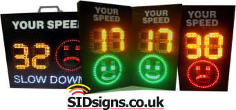 two smiley face speed signs